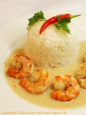 Bananen-Curry mit Shrimp