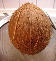Ablaufen lassen des Kokoswassers
