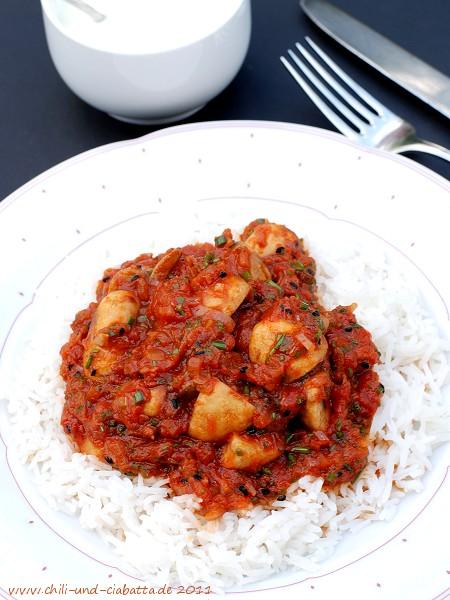 Champignoncurry mit Reis und Joghurt