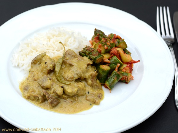 Lamm in Currysauce mit Spargel Subzi