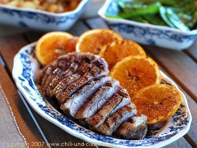 Entenbrust mit Orangen vom Grill