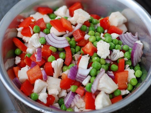 Gemüse für Pakoras