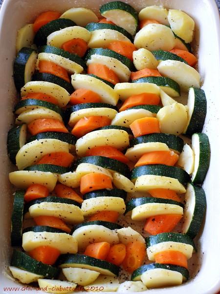Gemüse eingeschichtet