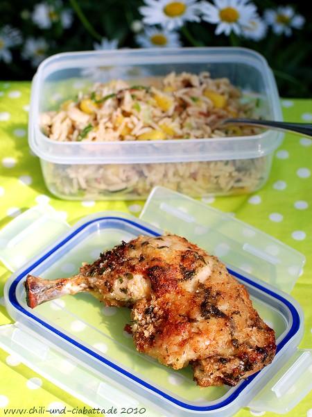 Hähnchenschenkel mit Reissalat