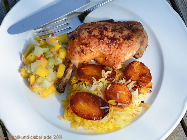 persischer Kartoffelreis mit scharfen Hähnchenkeulen