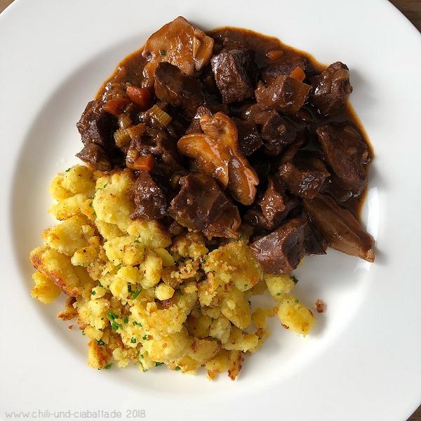 Kalbsherz-Ragout mit Kartoffel-Grieß-Gröstl