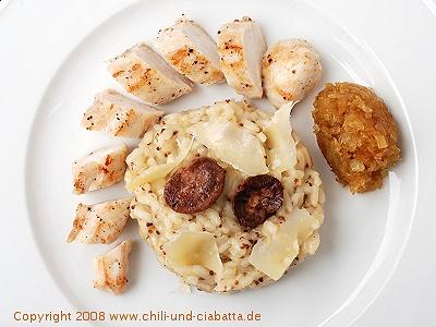 Kaninchen mit Senf-Risotto und karamellisierten Zwiebeln