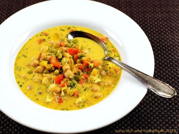 Kichererbsen-Curry-Kokos-Topf mit Paprika
