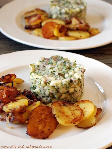 Matjeshäckerle mit Bratkartoffeln