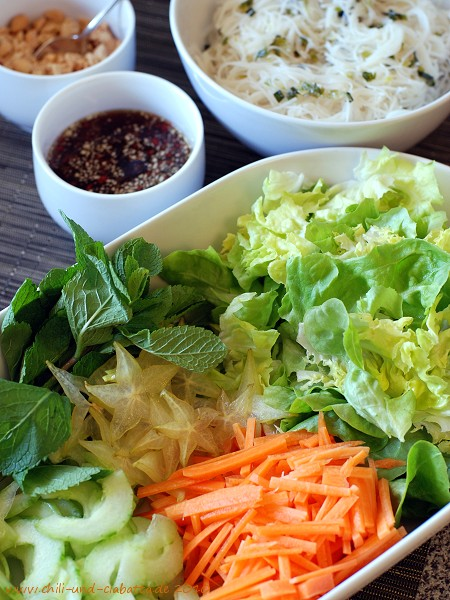 Reis-VeErmicelli und Gemüse