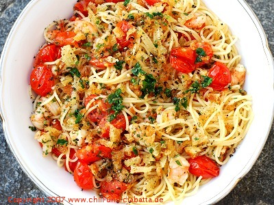 Spaghettini mit pikanten Shrimps und Kirschtomaten