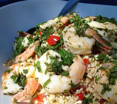 Tabbouleh mit Minz-Shrimps