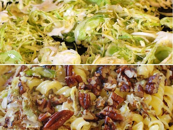 Pasta mit Rosenkohl, Gorgonzola und Pecannüssen