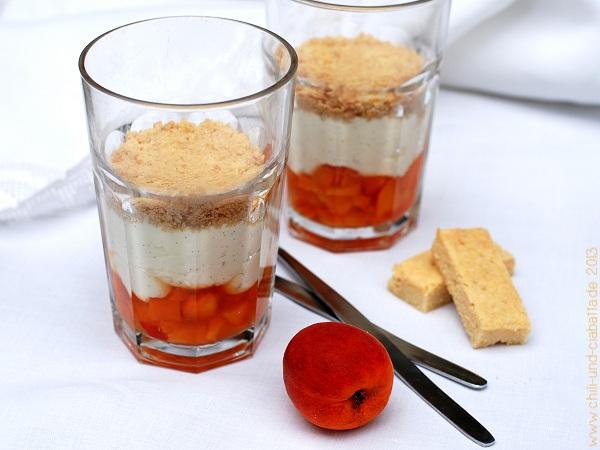 Falscher Aprikosenkäsekuchen im Glas