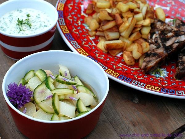 Schweinsfuß-Sülze mit Asia-Remoulade und Spargel-Gurkensalat