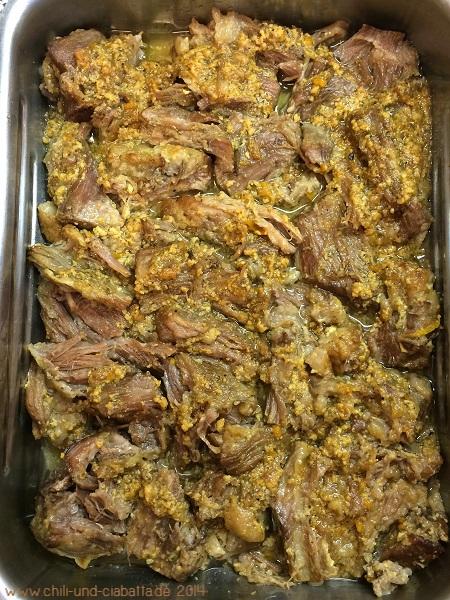 gegartes Fleisch in der Bratschale
