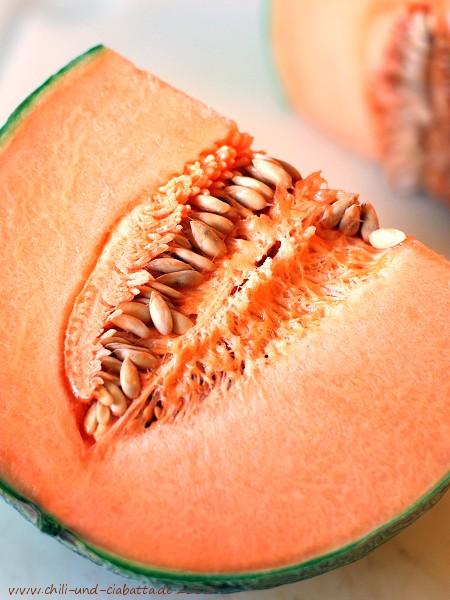Charentais-Melone, aufgeschnitten