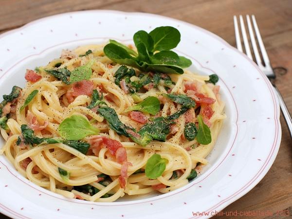 Spaghetti alla Feldsalat-Carbonara