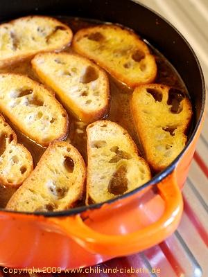 Croutons auf der Suppe