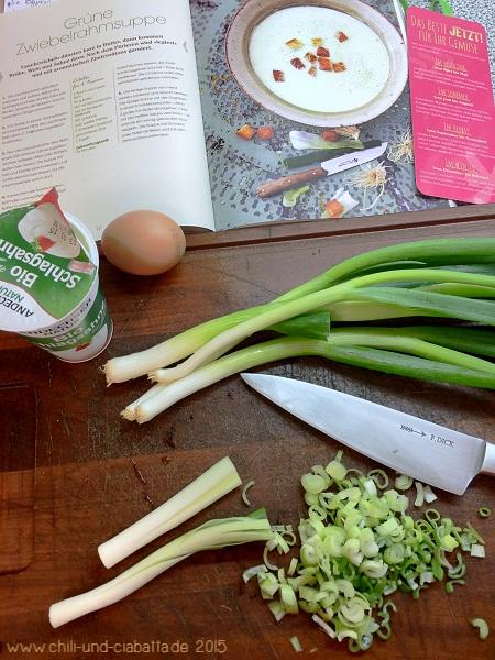 Grüne Zwiebelrahmsuppe Vorbereitung
