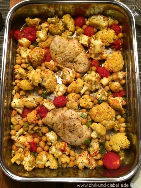 Hähnchenbrust mit Curry-Blumenkohl, Kichererbsenund zitroniger Joghurtcreme