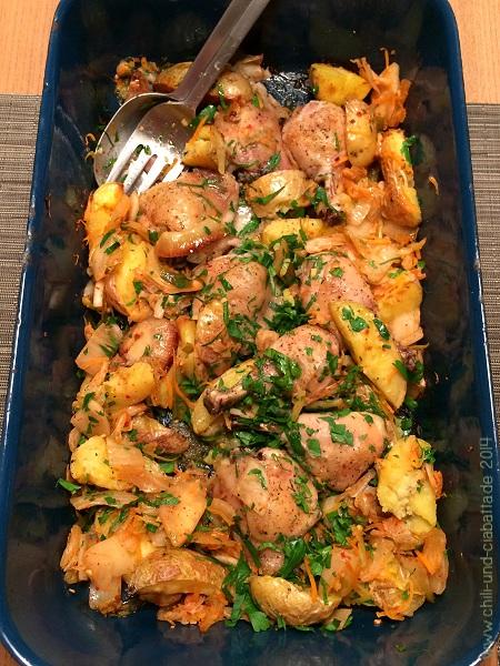 Backofenhähnchen mit Kimchi-Kartoffeln