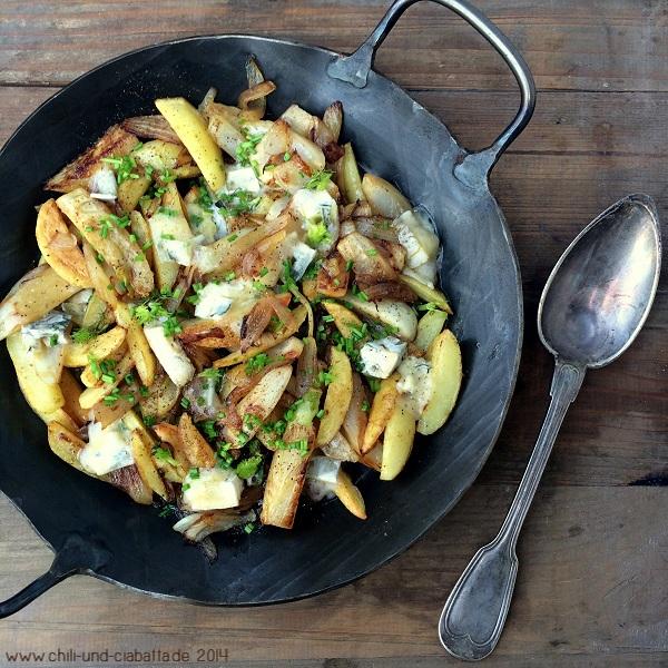 Kartoffel-Fenchel-Pfanne mit Blauschimmelkäse
