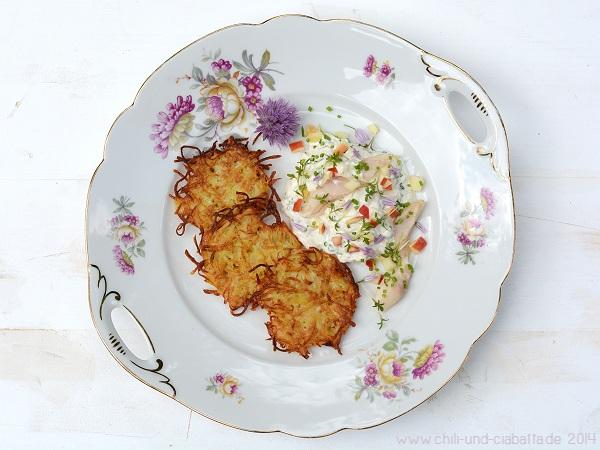 Kartoffelpuffer mit Forellen-Apfel-Schmand