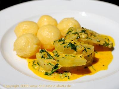 Kohlrabi mit Orangen-Estragonsauce und Kartoffelklösschen
