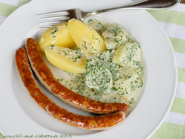 Bratwurst mit Kohlrabi in Kerbel-Zitronensauce