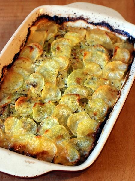 Lauchauflauf mit Kartoffelkruste