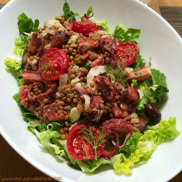 Linsensalat mit Oktopus