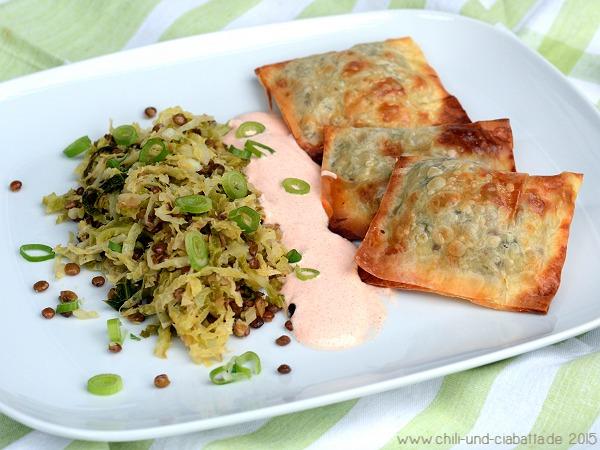 Linsentaschen mit Linsen-Wirsing-Gemüse