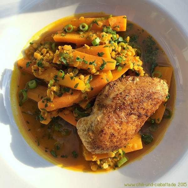 Möhren-Curry mit roten Linsen und Hähnchenbrustfilet