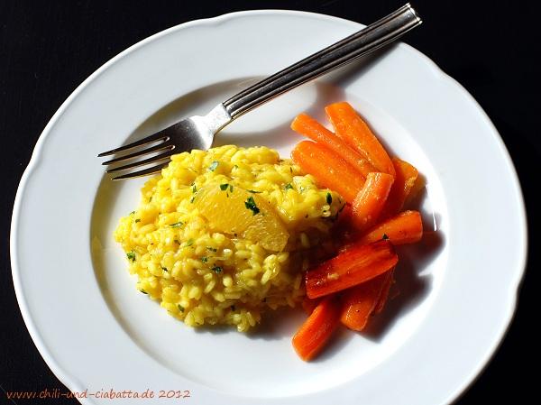 Safran-Orangen-Risotto mit glasierten Honig-Möhren