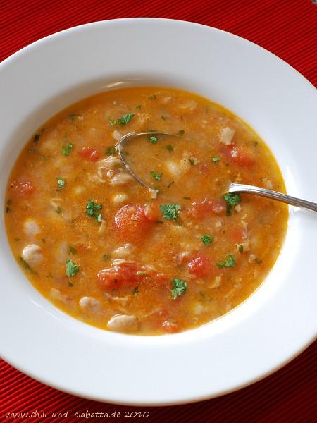 Palbohnensuppe mit Tomaten