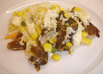 Rice with corn-stuffed chiles