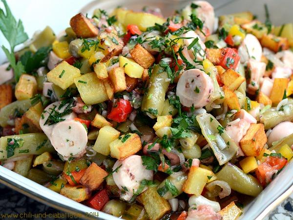 Polposalat mit Bohnen und gebratenen Kartoffeln
