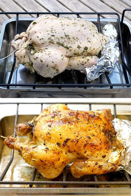 Mariniertes Huhn vor und nach dem Braten