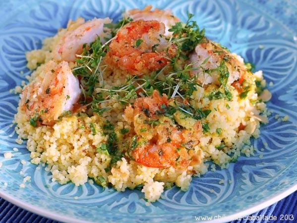 knusprige Shrimp auf Couscous