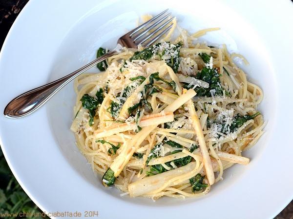 Spaghetti mit Rucola und Spargel