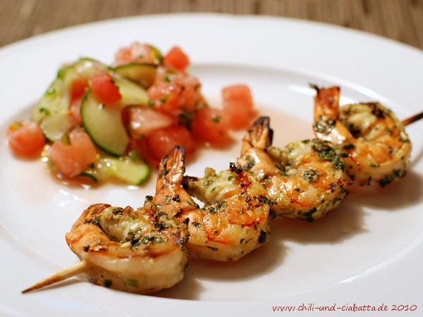 gegrillte Shrimp mit Wassermelonen-Salsa
