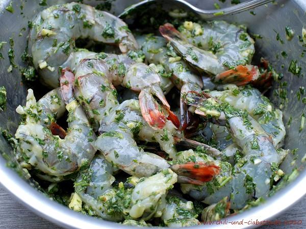 Shrimp in der Marinade